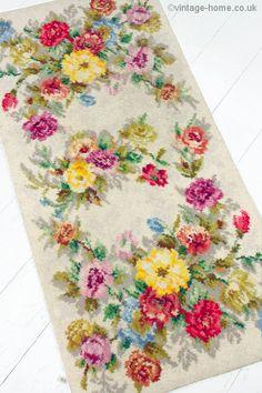 Vintage Home Shop - 1940s Hearthside Roses and Carnations Rug: www.vintage-home.co.uk