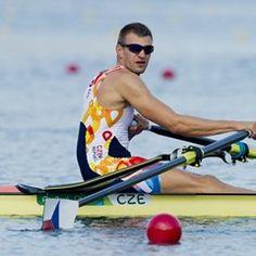 Ondrej Synek of Czech Republic in Olympic quadruple sculls heat