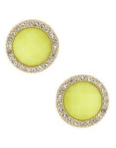 Yellow sparkle neon stud earring