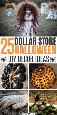 25 Cheap Halloween Decor DIY ideas from the Dollar Store that'll spook your friends! These DIY Halloween decor ideas are perfect for the upcoming Halloween! diy decor dollar stores 25 Dollar Store Halloween Decor DIY Ideas That Are Spooky Cheap Halloween Decorations, Theme Halloween, Halloween Diy, Spooky Decor, Spooky Spooky, Haunted House Decorations, Halloween Makeup, Haunted House Props, Halloween Displays