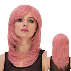 Fresh Pink Long Layered Tail Adduction Side Bang Straight Film Character Cosplay Wig #>=#>=#>=#>=#> Click on the pin to check out discount price, color, size, shipping, etc. Save and like it!