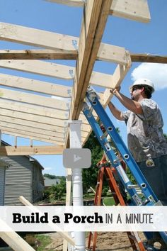 Watch our minute-long video of building a porch and get lots more info on how to build at porch at http://www.front-porch-ideas-and-more.com/how-to-build-a-porch.html #deckbuildingideas