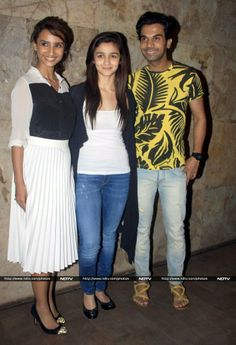 Actors Patralekha, Alia Bhatt and Rajkumar Rao during the screening of film Citylights in Mumbai, on May 2014 (Photo: IANS) Bollywood Photos, Bollywood News, India People, In Mumbai, Alia Bhatt, Celebs, Celebrities, Social Networks, Celebrity Style