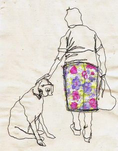 I'm a big fan of anything related to textile art, so when I spotted UK artist Sarah Walton's dog-themed work on The Jealous Curator I had to share!