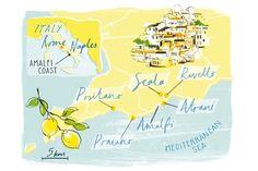 Illustrated map of the Amalfi Coast.A outline of my future trip Amalfi Coast Wedding, Amalfi Coast Italy, Italy Map, Italy Travel, Italy Vacation, Capri Italia, Naples Capri, Costa, Wedding Invitation Inspiration