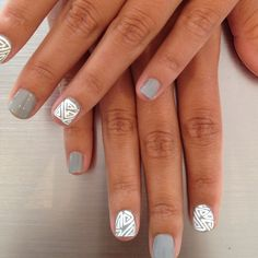 Aztec Nails. change grey to a bright, vibrant color