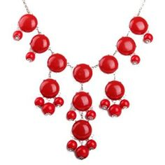 Red Bubble Necklace in Silver Tone, Bib Necklace, Statement Necklace (Fn0508-S-Red)  http://electmejewellery.com/jewelry/necklaces/y-necklaces/red-bubble-necklace-in-silver-tone-bib-necklace-statement-necklace-fn0508sred-com/