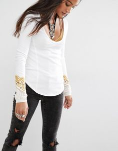 Bandana Cuff Top -Free People Thermal Layering Top with Embroidered Cuff Detail in Cream