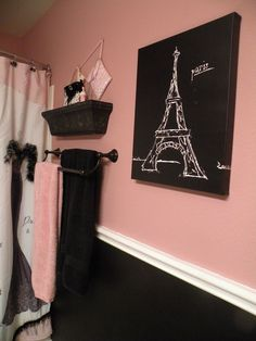 This Will Be My New Bathroom Bath Black And Pink Paris Bathroom Shower Curtain And Accessories From Bed Bath And Beyond Dress To Thrill