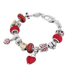 Pugster Multicolor Murano Glass Silver Plated Love Mom Family Set Fit Beads Charms Bracelets All Brands