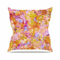 """East Urban Home Bloom on! Ebi Emporium Throw Pillow Size: 18"""" H x 18"""" W x 4"""" D, Color: Yellow"""