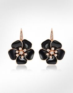 Rosato Marigold - Diamond and 18K Gold Black Flower Earrings