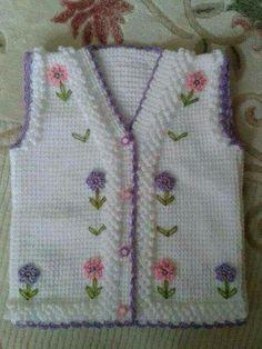 Flower veneer vest construction By hatice Tatli Kiz Knitting For Kids, Baby Knitting Patterns, Knitting Socks, Baby Patterns, Knitting Projects, Crochet Projects, Hand Knitting, Crochet Patterns, Knit Baby Sweaters