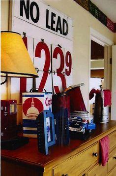 vintage accessories on boys room dresser