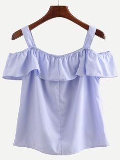 Blue Straps Vertical Striped Ruffle Shirt
