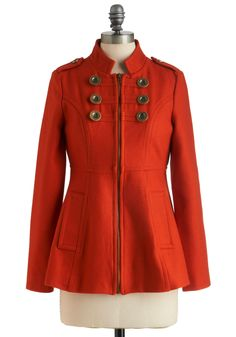 Brilliant Brigade Coat by Tulle Clothing - Mid-length, Solid, Buttons, Pockets, Long Sleeve, 2.5, Orange, Epaulets, Exposed zipper, Military, Fall