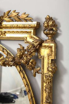 Antique and Vintage Wall Mirrors - For Sale at Victorian Mirror, Trumeau Mirror, Wood Carving Art, Moldings And Trim, Antique Frames, Victorian Furniture, Grey And Gold, Classic Elegance, Louis Xvi