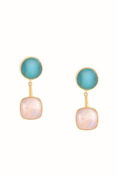 Pendientes con dos piedras semipreciosas, Ágata y Piedra Luna. Ear Drops, Pearl Earrings, Drop Earrings, Pendant Design, Drops Design, Jewerly, Pearls, Beautiful, Fashion