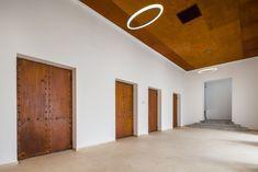 Gallery of Blaj Cultural Palace Refurbishment / Vlad Sebastian Rusu Architecture Office - 18 Hall Lighting, Interior Lighting, Multipurpose Hall, Main Entrance Door, Brick Cladding, Roof Trusses, Basement Plans, Ground Floor Plan, Ventilation System