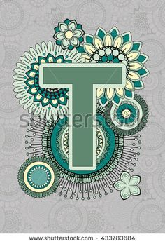 Bright Capital Letters English Alphabet. Mandala. ABC book. Isolated Vector Elements. Abstract Background. T