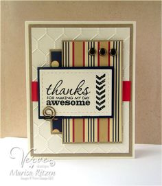 Handmade thank you card by Marisa Ritzen using the Better Together stamp set from Verve.  #vervestamps