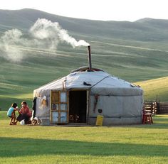 Small and simple Mongolian gher/ yurt. I fall in love with these grasslands every time I see them.
