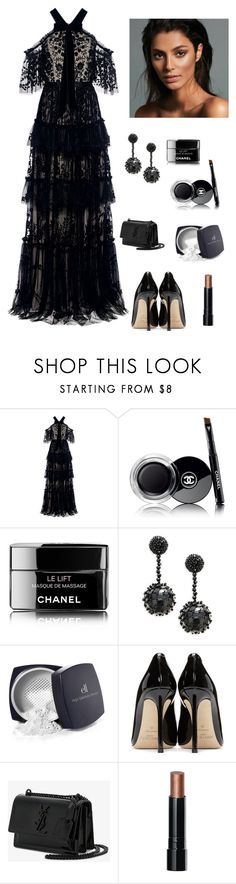 """""""Ruffles in the Summer"""" by kotnourka ❤ liked on Polyvore featuring Needle & Thread, Chanel, Oscar de la Renta, Forever 21, Jimmy Choo, Yves Saint Laurent and Bobbi Brown Cosmetics"""
