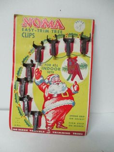 Vintage Noma Metal Alligator Pinch Clips for Christmas Light Sockets - Orig Pkg