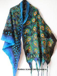large nuno felted silk scarf shawl wrap, PEACOCK GOLDEN EYE handmade, art to wear, silk wool scarf, fashion by Kantorysinska