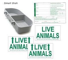 DryFur Kennel Travel Kit for Pets - Hook-On Dish & Live Animal Labels (Small) - Dog Store Pet Travel, Travel Kits, Airline Travel, Small Pet Supplies, Dog Dental Care, Dog Food Storage, Live Animals, Cat Carrier, Dog Store