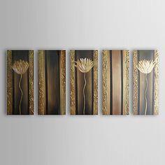 Peints à la main peinture à l'huile abstraite de fleur avec cadre étiré Ensemble de 5 1311-AB1140 – USD $ 139.99