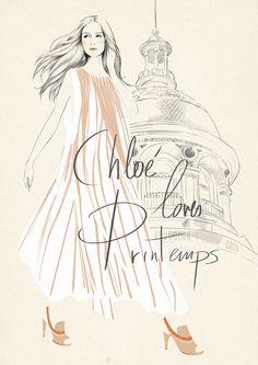 Sandra Suy's illustration for Chloe loves Printemps. i like the sketched background