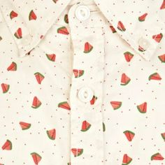 Ecru watermelon print short sleeve shirt - printed shirts - shirts - men