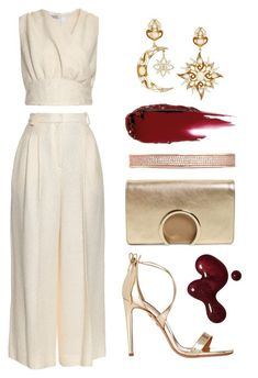 Ivory & Gold by dominosfalldown on Polyvore featuring Emilia Wickstead, Aquazzura, Chloé, Diego Percossi Papi, Eddie Borgo, gold, ivory, goldsandals and winterwhite