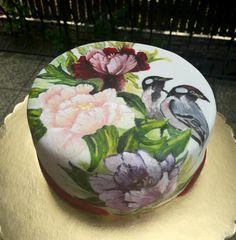 Handpainted cake - cake by Fatiha Kadi. Too pretty to cut! Butterfly Wedding Cake, Purple Wedding Cakes, Butterfly Cakes, Wedding Cakes With Flowers, Elegant Wedding Cakes, Elegant Cakes, Wedding Cake Designs, Wedding Cake Toppers, Cake Flowers