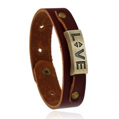 2017 New design fashion Brown 23cm Leather Bracelets  Lover's Bracelet valentine's day gifts personalised mens leather bracelet