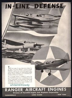 1940 CURTISS XSO3C-1 VOUGHT XSO2U-1 Navy Scout Plane Ranger Aircraft Engine AD