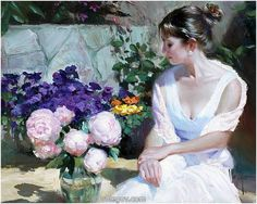 Roses and Peonies a Vladimir Volegov Original Painting available from J Watson Fine Art 661 your source for Vladimir Volegov original paintings and other Vladimir Volegov art. Peony Painting, Woman Painting, Figure Painting, Painting Art, Vladimir Volegov, Red Peonies, Ecole Art, Oil Painting Reproductions, Female Portrait