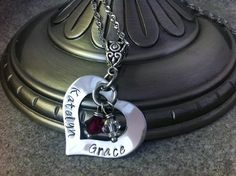 Personalized Hand Stamped Heart  Family Mommy by 3littlegems, $32.00