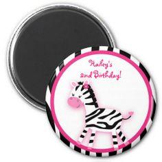 Sweet Pink Zebra Party Favor Magnets