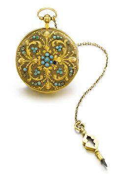 SWISS A YELLOW GOLD AND TURQUOISE-SET MUSICAL WATCH CASE CIRCA 1830 • gilt brass sur plateau musical movement with pinned brass disc and 20 tuned steel teeth, activation slide to the band • chased and engraved hunting case with scroll decoration and applied turquoise cabochons diameter 38 mm