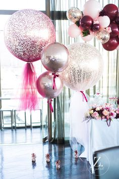 Pastel Pink & metallic sparkly balloons are the perfect addition to a hen party! Pastel Pink & metallic sparkly balloons are the perfect addition to a hen party! Tulle Balloons, Wedding Balloons, Glitter Balloons, Balloon Ideas, Bridal Shower Balloons, Pastel Balloons, Balloon Garland, Foil Balloons, Ideas Party