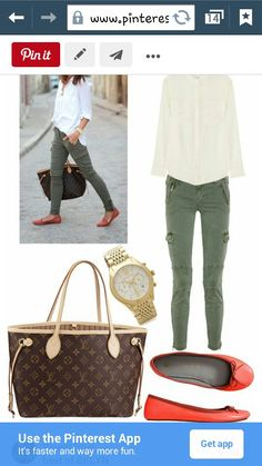 Olive skinny, white button down, and flats