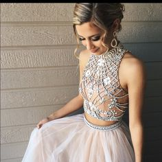 Two Piece Prom Dress, Long Pom Dress, 2017 Prom Dress with Open Back