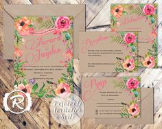 Printable Wedding Invitation, Summer Watercolor Floral, Floral Wedding Invite, Floral Bohemian Style, RSVP card DIY Printable Invitations by RubyRidgeStudios on Etsy https://www.etsy.com/listing/209078752/printable-wedding-invitation-summer