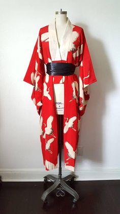 Nagajuban rouge avec Flying grue Print  Kimono Robe Duster