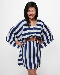 Esley Striped Kimono Dress - Navy $48.00