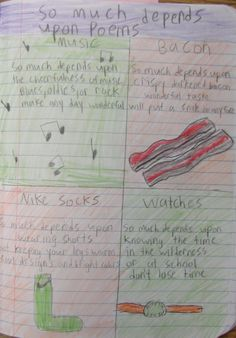 """6th grader Alden's page of 16-word 'So Much Depends Upon' poems wins a """"Mr. Stick of the Week's 'Best Decorated Notebook Page' Award.""""  Here is a link to the lesson I used to inspire this page and teach the students to interpret a great poem: http://corbettharrison.com/lessons/So-Much-Depends-Upon.htm"""