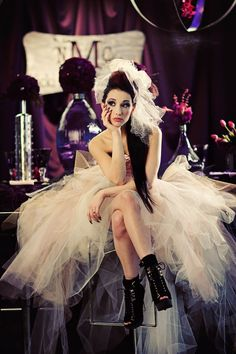 updo, edgy, rocker, tulle. use darker colors and a bit more tatter. Grunge princess
