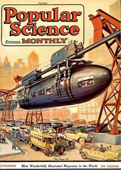 "N ov 1923 Popular Science Cover Illustration  ""Monorail""   (Illustrator Unknown)"